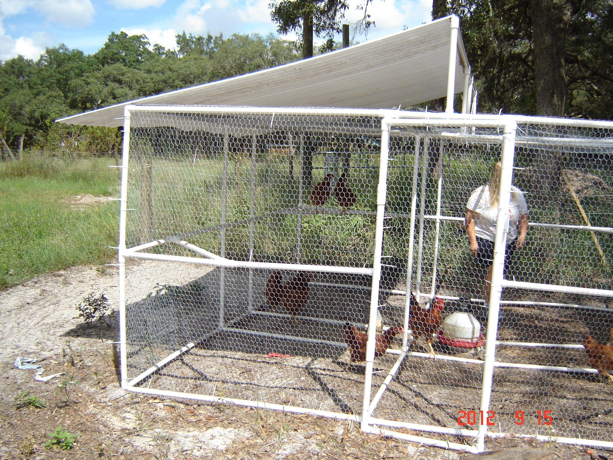 Pictures of a build it yourself pvc chicken pen for Pvc chicken house