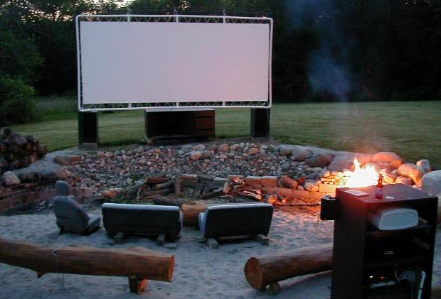 Pictures ofa pvc back yard movie screen for an lcd projector. make
